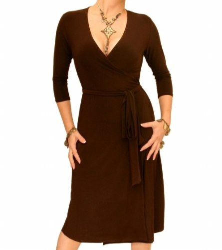 Blue Banana Brown Elegant Slinky Wrap Dress