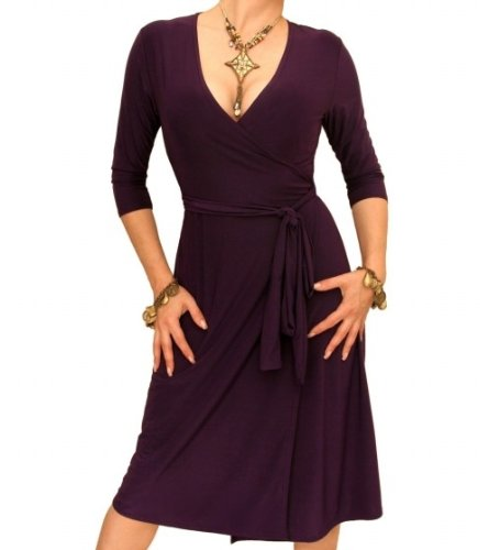 Blue Banana Purple Elegant Slinky Wrap Dress
