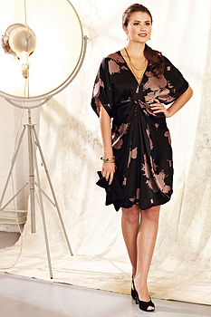 Tallulah Dress – Shadowflower Print Silk Satin by Nancy Mac