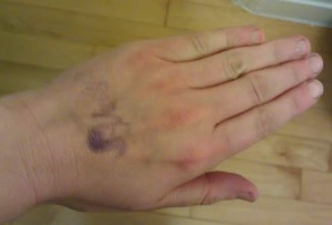 stamped hand