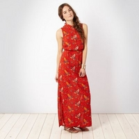 Red paisley printed maxi dress