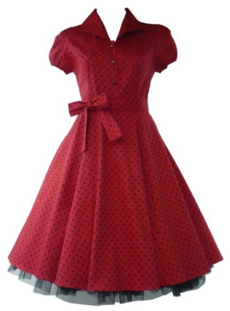 50′s Tea Party Small Polka Dot Dress Red & Black