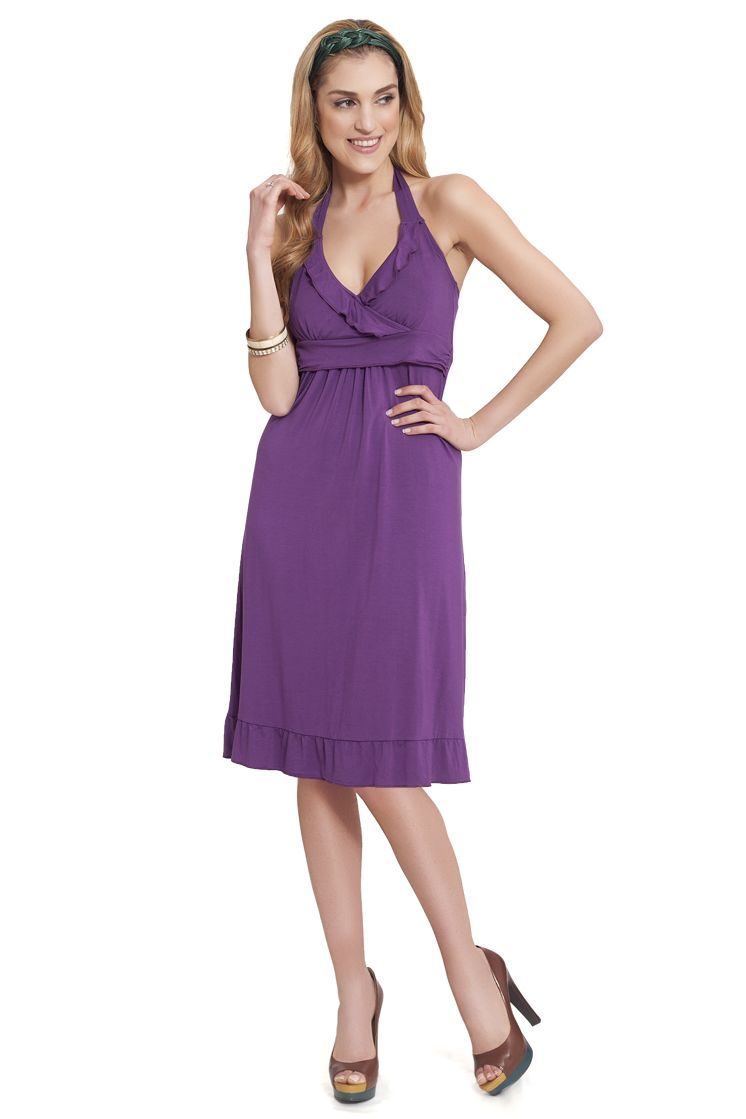 Milk Nursingwear Flirty Halter Nursing Dress, Purple