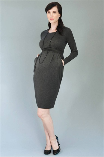 Amelie Maternity & Breastfeeding Dress- Grey