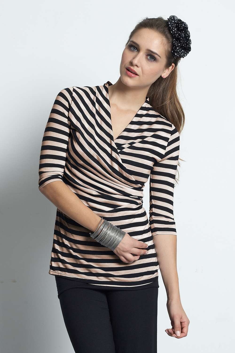 Mothers En Vogue Faux Wrap Stripe Nursing Top, Black & Buff Stripe