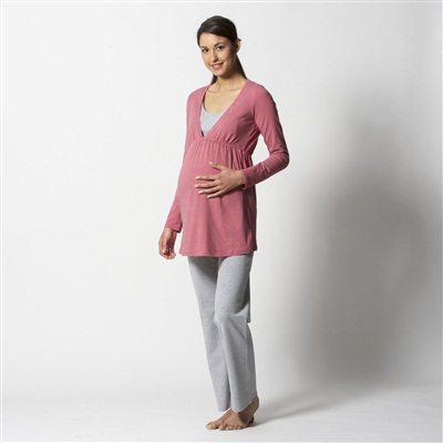 Long-Sleeved Maternity and Nursing Pyjamas, Pink/Grey Stripes