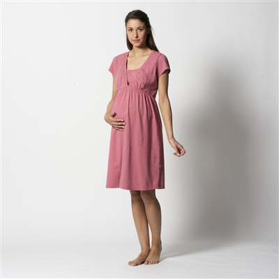 Short-Sleeved Maternity and Nursing Nightdress, Pink