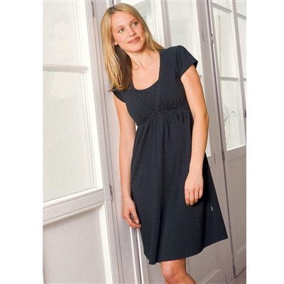 Short-Sleeved Maternity and Nursing Nightdress, Black