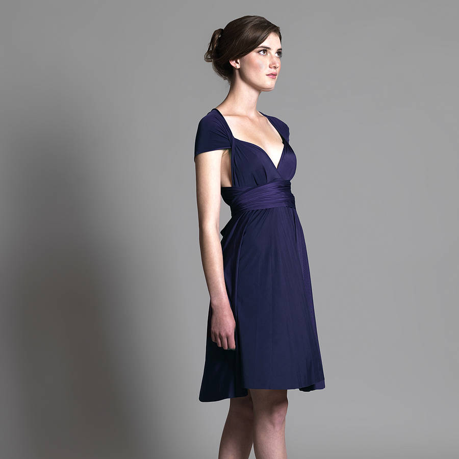 Navy Multiway Knee Length Dress