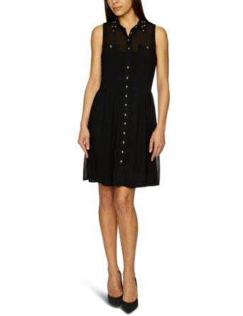 Ruby Rocks Stud Collar Sleeveless Shirt Dress, Black