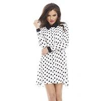 Collar Long Sleeve Polka Dot Blouse Dress