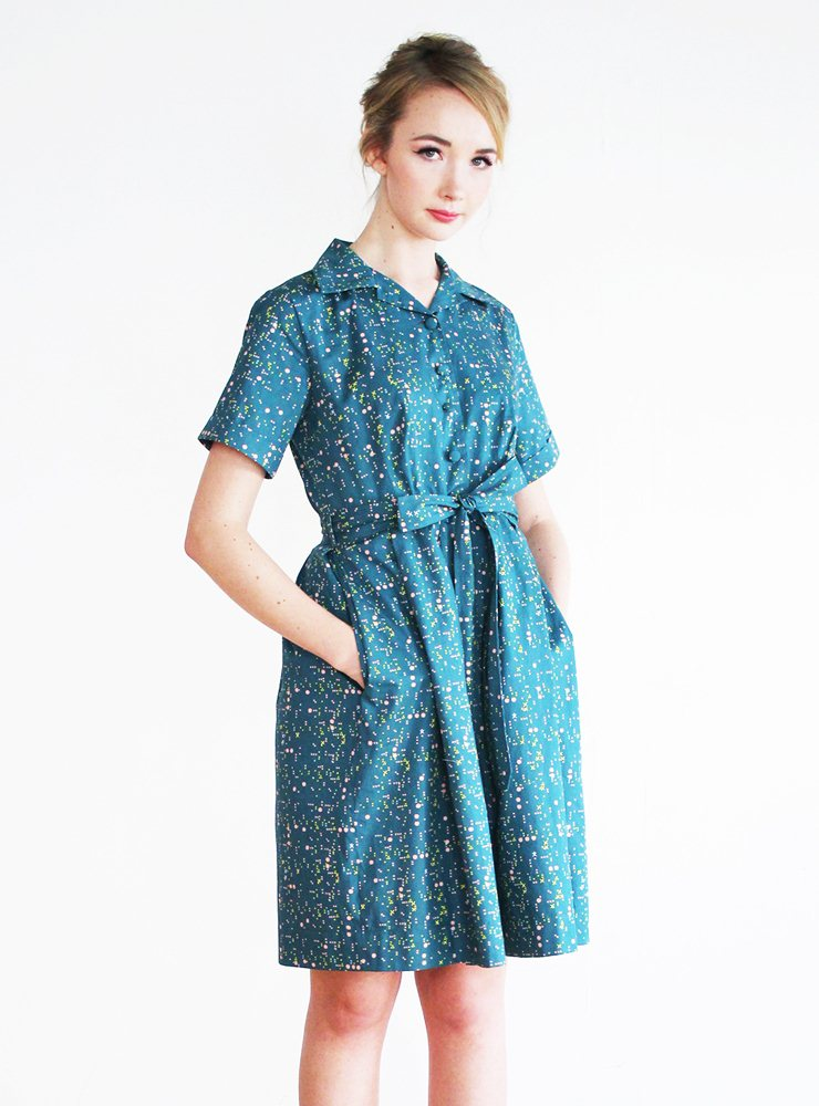 Betty Utility Dress in Digital Teal – UK 16