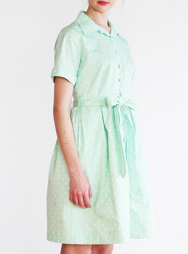Betty Utility Dress in Mint Triangle  – UK 12