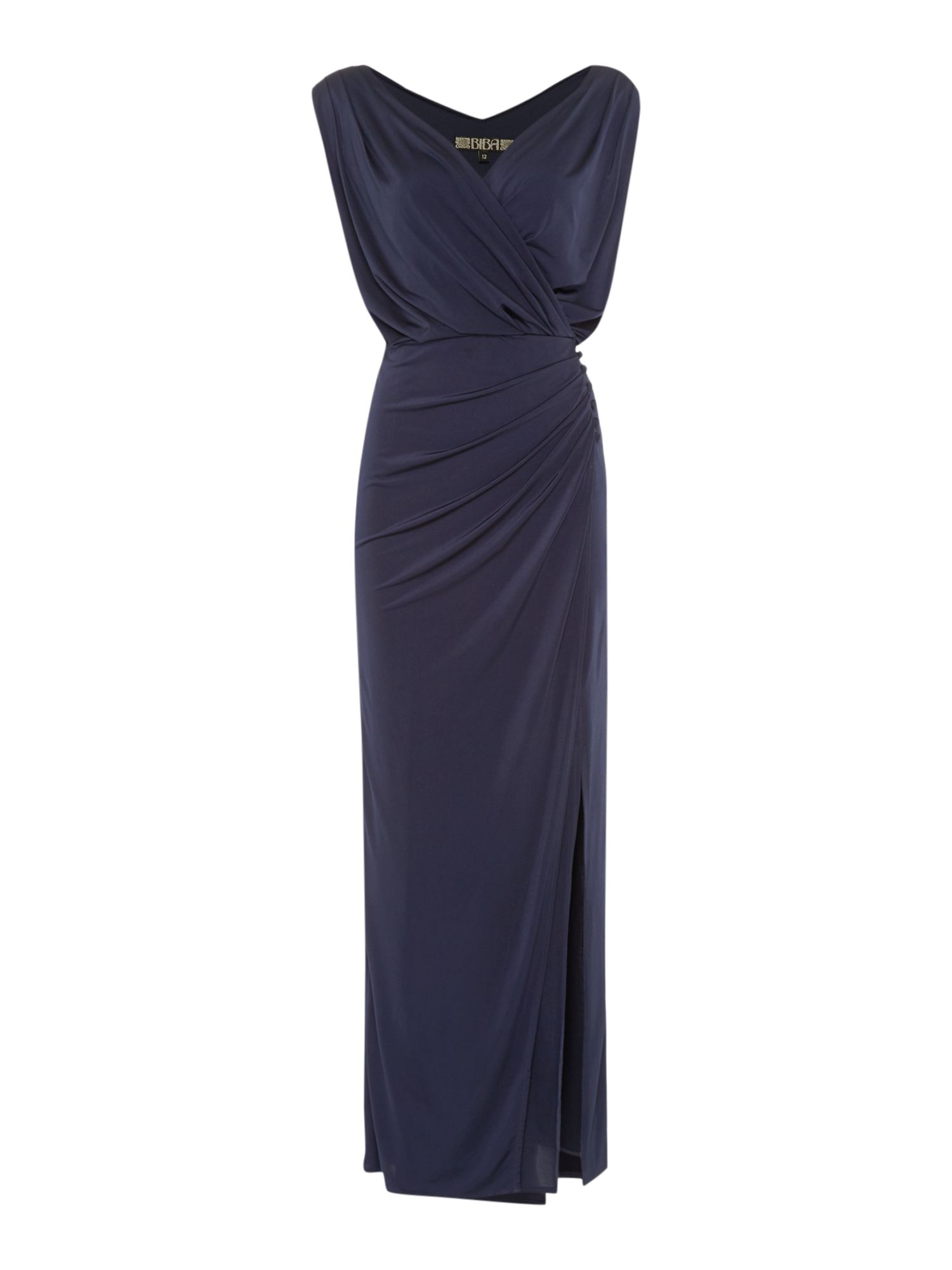 Biba Wrap over button detail maxi dress, Navy