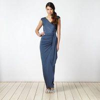 Blue ruched jersey maxi dress