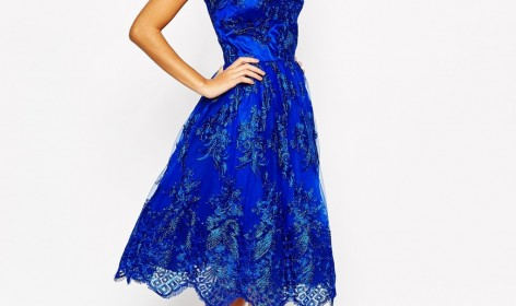 Chi Chi Lace Wrap Dress Blue