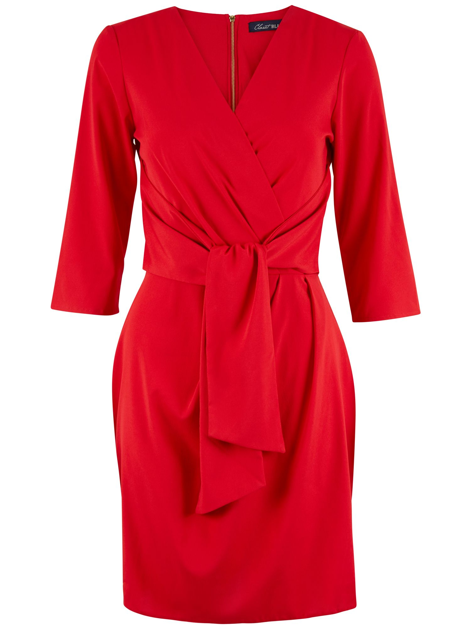 Closet 3/4 Sleeve Wrap Dress, Red