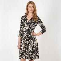 Designer natural smudged leopard print fit and flare dress