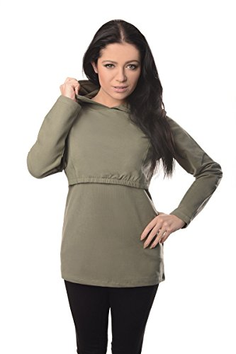 Discreet Soft Nursing And Breastfeeding Hoodie 9051, Khaki