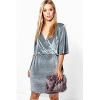 Erin Velvet Wrap Over Dress - grey - boohoo.com Nursing Clothes