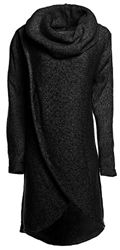 Happy Mama Women's Maternity Nursing Wrap Knitted Layered Jumper Pullover, Graphite Melange