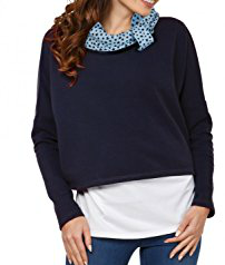 Happy Mama Womens Nursing Sweatshirt Breastfeeding Layered Top Maternity Navy