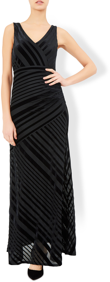 Helena Velvet Stripe Maxi Dress
