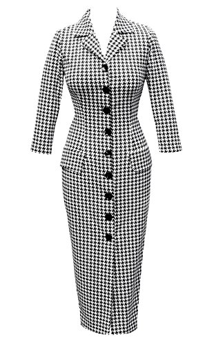 1950's Style Houndstooth Wiggle Pencil Dress