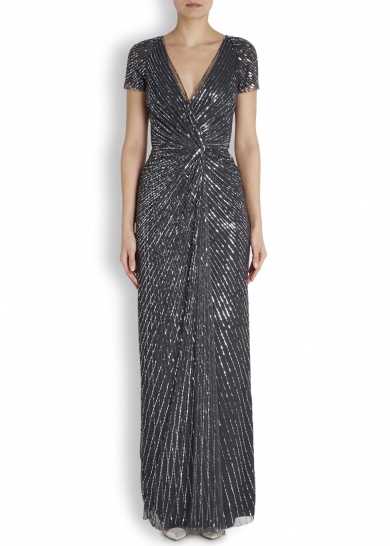 Jenny Packham Charcoal sequinned tulle gown