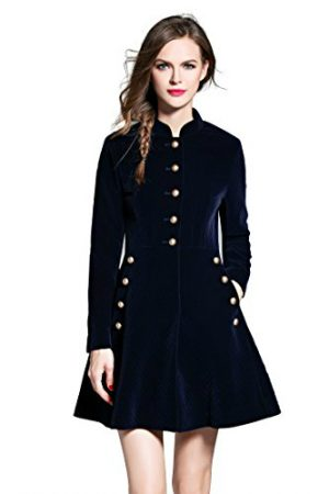 LAI MENG Slim Fit Button Front Coat Corduroy Swing A-line Dress