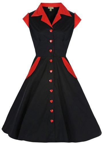 Lindy Bop 'Jeanette' Vintage 1950's Shirt Dress, Black