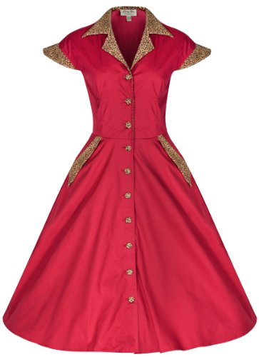 Lindy Bop 'Jeanette' Vintage 1950's Shirt Dress, Red/Leopard