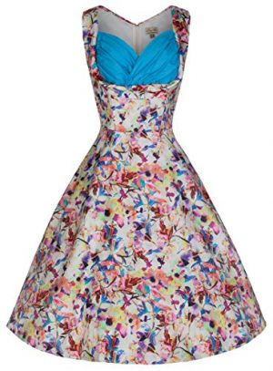 Lindy Bop 'Ophelia' Floral Kaleidoscope Print Vintage 50's Swing Dress
