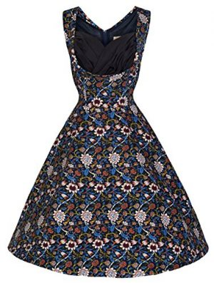Lindy Bop 'Ophelia' Floral Print 1950's Vintage Inspired Swing Dress, Dark Blue