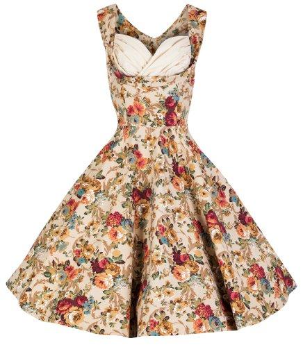 Lindy Bop 'Ophelia' Vintage 1950's Floral Dress, Beige Floral