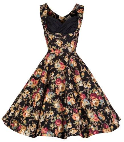 Lindy Bop 'Ophelia' Vintage 1950's Floral Dress, Black Floral