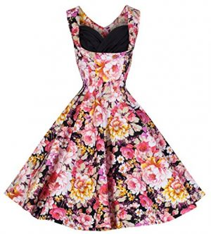 Lindy Bop 'Ophelia' Vintage 1950's Floral Dress, Black Pink Floral