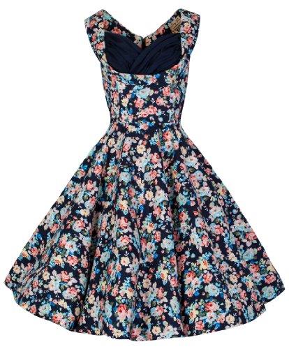 Lindy Bop 'Ophelia' Vintage 1950's Floral Dress, Dark Blue Floral