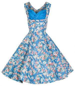 Lindy Bop 'Ophelia' Vintage 1950's Floral Dress, Sky Blue Floral