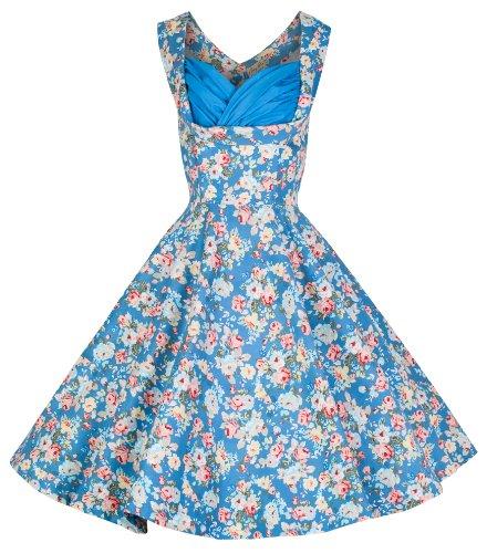Lindy Bop 'Ophelia' Vintage 1950's Floral Dress, Sky Blue Floral