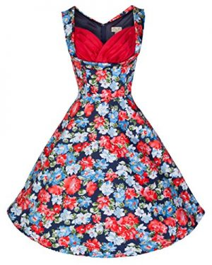 Lindy Bop 'Ophelia' Vintage 1950's Fresh Floral Print Swing Dress