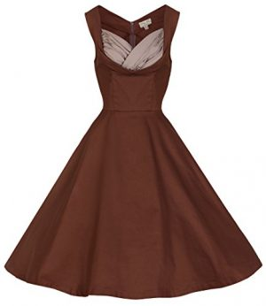 Lindy Bop 'Ophelia' Vintage 1950's Prom Swing Dress, Chocolate