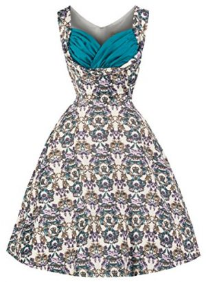 Lindy Bop 'Ophelia' Vintage 50's Majestic Floral Crown Print Swing Dress
