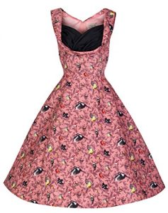 Lindy Bop Ophelia Vintage Fifties Style Bird Print Swing Dress, Pink