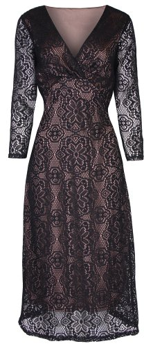Lindy Bop 'Sabina' Vintage Style Black Long Sleeved Lace Wiggle Dress