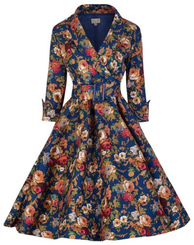 Lindy Bop 'Vivi' Vintage 1950's Style English Rose Floral Print Dress, Dark Blue Floral