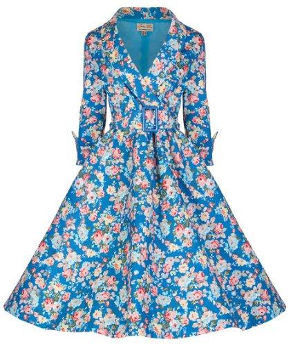 Lindy Bop 'Vivi' Vintage 1950's Style English Rose Floral Print Dress, Sky Blue Floral