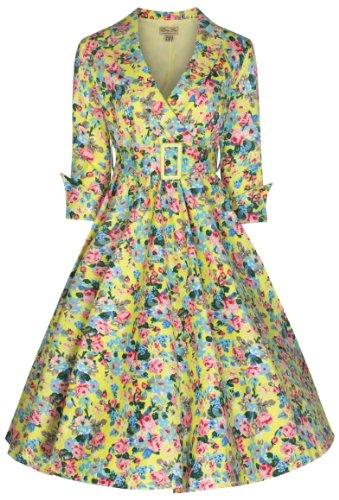 Lindy Bop 'Vivi' Vintage 1950's Style English Rose Floral Print Dress, Yellow Floral