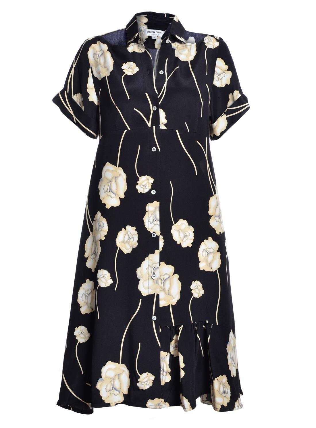 Liuila Black Floral Shirt Dress by Eudon Choi