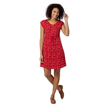Mantaray Womens Red Woven Triangle Print Dress